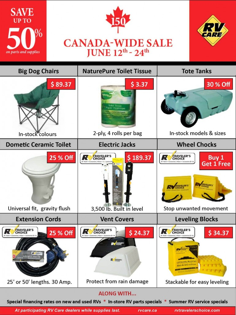 Rv For Sale Canada >> Rv Care Canada Wide Sale Ends This Saturday Leisure Trailer Sales